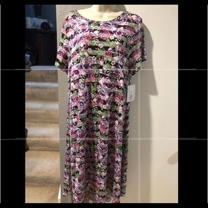 LulaRoe Carly M NWT floral stripe